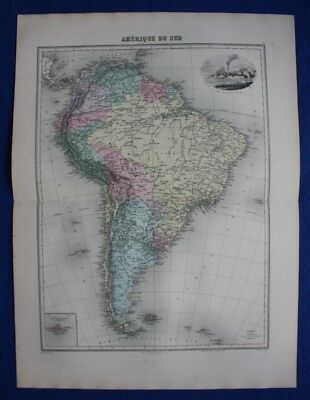 Original antique map SOUTH AMERICA, BRAZIL, CHILE, GALAPAGOS, RIO, Migeon, 1891