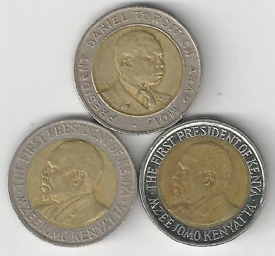 3 DIFFERENT BI-METAL 5 SHILLING COINS from KENYA (1997, 2005 & 2010)