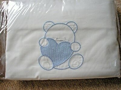 """BABY COTTON COT SET DUVET 48"""" x 48"""" WITH PILLOWCASE. BLUE. NEW IN WRAPPER"""