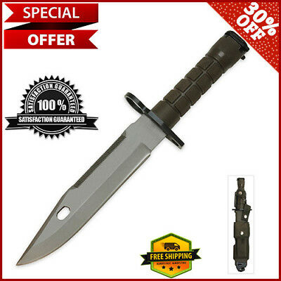 M9 Bayonet Military Knife Sheath Scabbard and Sharpener Stainless Steel Blade