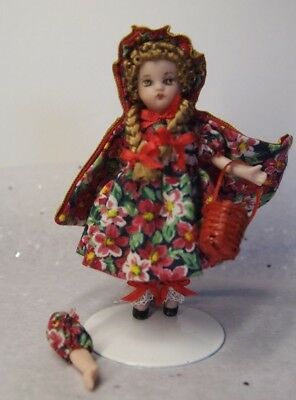 3.5in Artist Miniature Porcelain Dollhouse Doll Red Riding Hood Arms Detached
