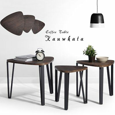 3 Piece Modern Round Coffee Table Nesting End Tables Living Room Set Wood Brown