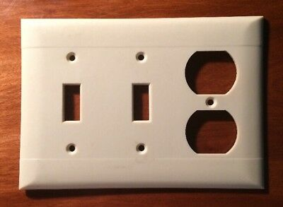 Vintage PS Sierra Electric Ivory 2 Light Switch Outlet Combo Plate Cover