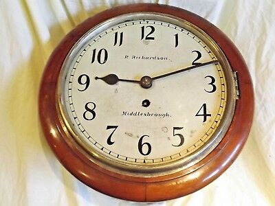 "Genuine ""10"" Walnut Roundial Fusee Clock In Original Condition C1890."