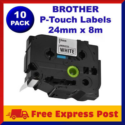 10 Pack TZ-251 TZe-251 Brother Black on White P-Touch Labels Tape Label 24mm x8m