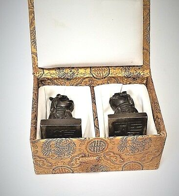 Pair Antique Chinese Ming Bronze Foo Lion Dog Seals In Brocade Box