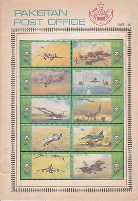 Pakistan Fdc 1987 First Day Brochure & Stamp Air Force F 104 F16 F 86 Sable C 13