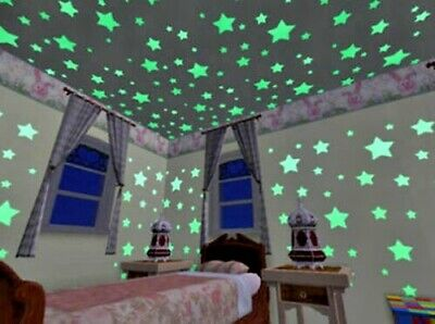 100 Glows and 1 Moon In The Dark Star Plastic Stickers kids Ceiling Wall Bedroom