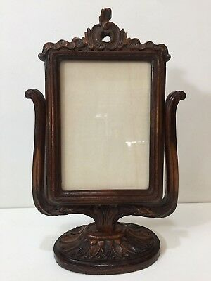 FRAME VINTAGE WOOD gesso oval with curved bubble glass 19x25 ...