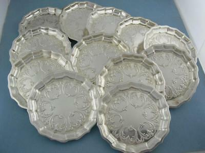 """12 Sterling FRANK SMITH 3 1/2"""" Coasters Butter Pat Dishes scroll patterns no.557"""