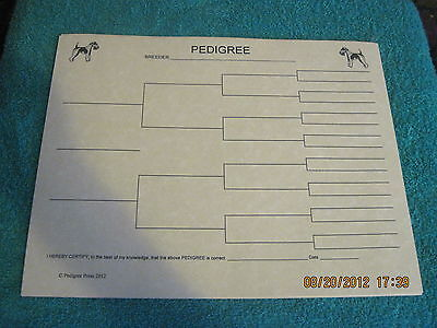 Wire Fox Terrier Body Blank Pedigree Sheets Pack 10 FREE SHIPPING IN USA dog