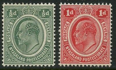 NYASALAND Sc#2-3 SG#73-74 1908 ½p & 1p OG Mint Lightly Hinged