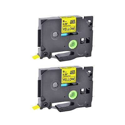 2PK Black on Yellow TZ 621 TZe 621 Laminated Label Tape 9mm For Brother P-touch