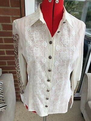 Save The Queen Beautiful White Blouse Nice Detail Size Xl 19 75
