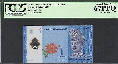 2012 1 Ringgit Malaysia Bank Of Negara Graded 67Ppq By Pcgs Currency (Sample)