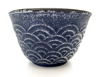 "IWACHU Japanese Cast Iron Blue WAVE 2"" Tea Cup with Enamel Lining"