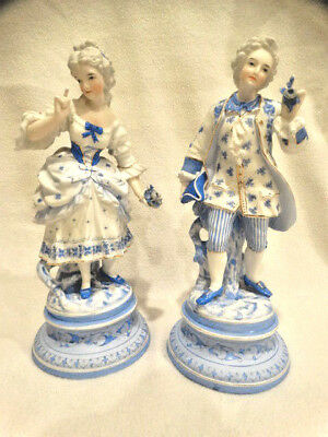 "Antique Pair of Light Blue & White French Porcelain Bisque 11.5"" Tall Figurines"