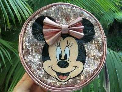 Disney Parks Exclusive Minnie Mouse Rose Gold Sequin Round Crossbody Purse NWT