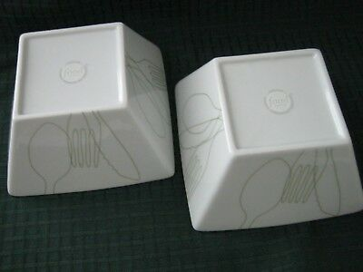 Set of 2 Square Food Network WHITE WITH GREEN OUTLINE OF UTENSILS Salad Bowls