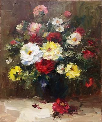 Original Oil Painting Floral Still Life Hand painted by Pallet Knife On Canvas