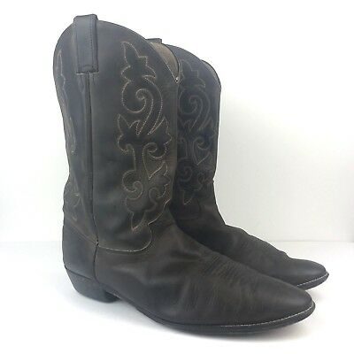 0f16a261d242e VINTAGE JUSTIN BAY Apache Brown Leather Roper Western Cowboy Boots ...