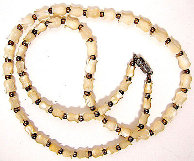 Victorian Old Mother of Pearl Graduated Size Carved Tulip Necklace