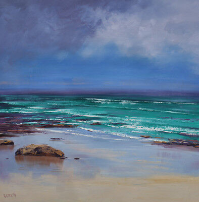 Modern Beach Painting Original oil Seascape Beach wall art on canvas G. Gercken