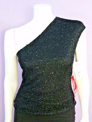 Laurence Kazar One Shoulder Black Beaded Cocktail Blouse Women Size Small