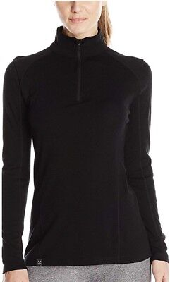 Ibex Woolies 2 Women Zip T-Neck,  XL, Black—New In Box