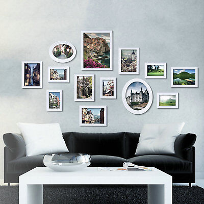 White Multi Picture Photo Frame 13 Pieces Set Wall Frames Set Collage Family