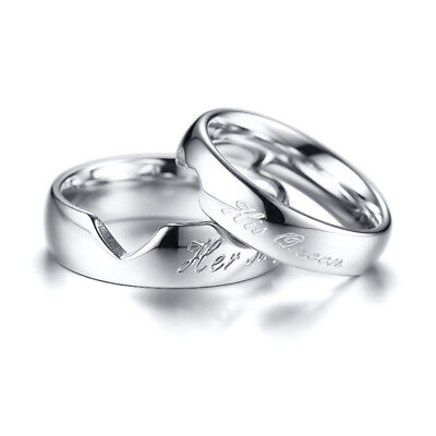 Couple Wedding Ring His Queen Her King Stainless Steel Band
