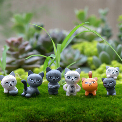 6pcs/set Lovely Unhappy Cats Figure Toys Room Miniature Decoration Kids Gifts HU