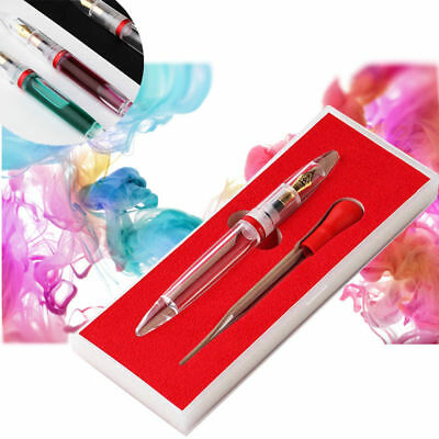 USA Moonman M2 Transparent Fountain Pen Changeable Ink Dropper Fine Nib 0.5mm