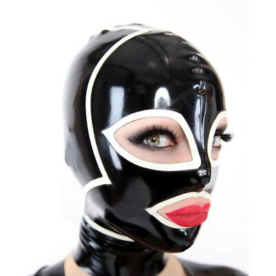 Latex Hood Handmade Rubber Mask for Beautiful Lady Cosplay Club Wear Costumes