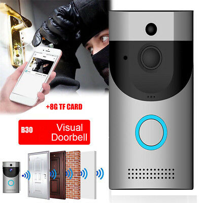 Wireless Doorbell WiFi Video 8G Two-Way Talk Smart Door Bell Security Camera UK