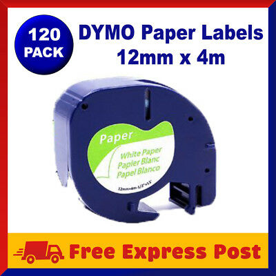 120 Pack DYMO Black on White Paper LetraTag Labels 91330 91200 Label Tape 12mm