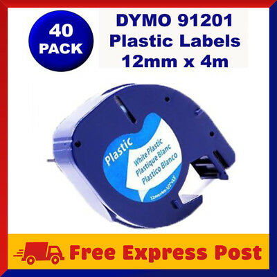 40 Pack DYMO Black on White Plastic LetraTag Labels 91331 91201 Label Tape 12mm