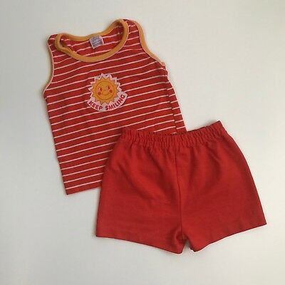 Vintage Carters Boys Girls Outfit Tank Top Shorts Keep Smiling Set Size 24 Month