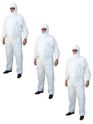 Chemical Spraying & Asbestos Removal Rated White Disposable Overalls | 3 Pairs