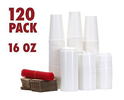 120 Paper Coffee Hot Cups with Lids, Stirrers, Sleeves, Disposable Travel Cups -