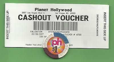 Las Vegas Planet Hollywood Casino Cashout Voucher / Ticket +1 $ Chip from 2017