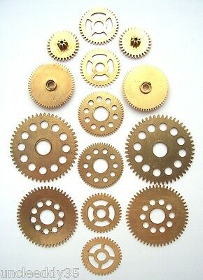 Lot of 7 pairs 14 pieces vintage clock small brass gears wheels Steampunk parts