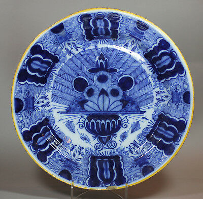 Antique Dutch Delft blue and white charger, 18th century