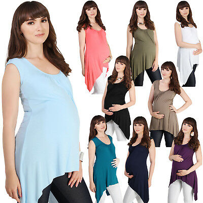 Women Maternity Sleeveless Swing T Shirt Pregnancy Summer Long Vest Top Tee Cami