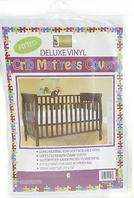 """Vinyl Crib Mattress Cover Keeps Bed Bugs & Mites Out Standard Size 28""""x52 Fitted"""