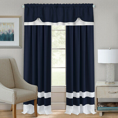 Navy Blue/White Modern Two-Tone Window Curtains Panel Tiers Kitchen or Home