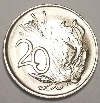 1978 South Africa African 20 Cents Arms Protea Flower Coin XF+