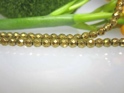 hämatin Stone in gold coloured, Complete Faceted Balls 3mm