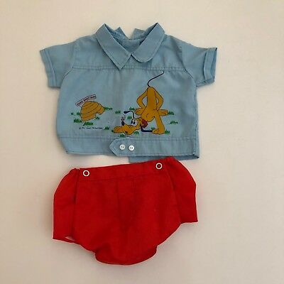 Vintage Disney Pluto Mickey Mouse Baby Boy Set Shirt Blue Outfit 0-3 3m NB Red
