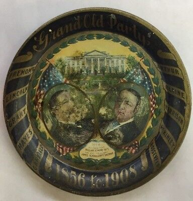 Vintage Grand Old Party Taft Sherman Tip Tray 1908 Presidential Election